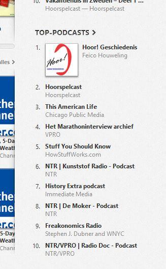 De lijst van top-podcasts van Itunes met Hoor Geschiedenis op nummer 1